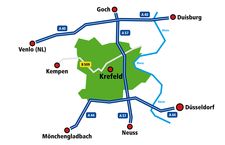 Standortkarte Krefeld